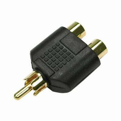 Gold Single 1 X RCA Phono Audio Video Y Splitter Socket Adapter Cable TV Lead • 1.59£