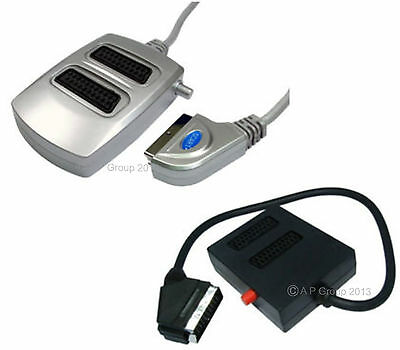 2 GANG SCART SWITCH BOX Switchable 2 Into 1 Silver Or Black TV VCR VIDEO SKY BOX • 8.36£