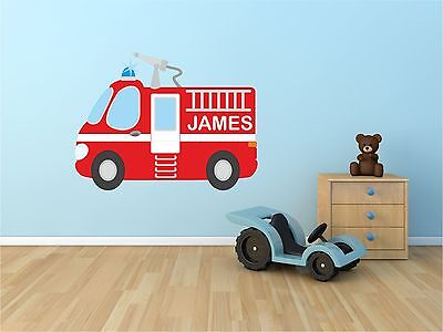 £11.99 • Buy  Personalised Fire Engine Kids Wall Art Sticker, Decal, Graphic Kr27
