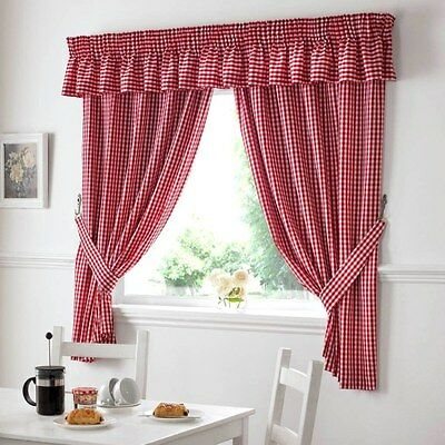 £13.49 • Buy Gingham Check  Red White Kitchen Curtains Drapes W46  X L48 Tiebacks Included