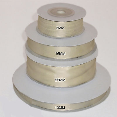 £2.19 • Buy Ivory Double Faced Satin Ribbon 3mm 10mm 16mm 25mm 38mm 50mm Width