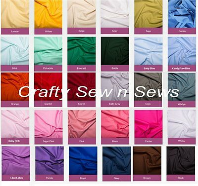 Cotton Poplin Plain Fabric Material - By The METRE - 45 Inch Width - 0001 • 7.25£