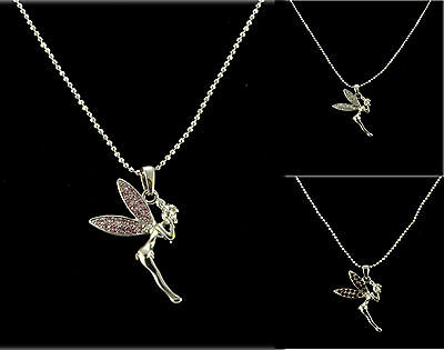 £2.99 • Buy Silver Tone Pink, Red Or Clear Tinkerbell Fairy Rhinestone Crystal Necklace