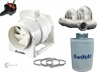4  Carbon Filter, In Line Fan & Duct Kit - Hydroponic Tent Room Grow Ventilation • 85.99£