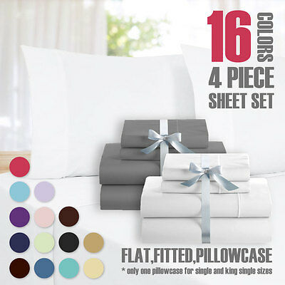 AU34.20 • Buy Queen&King Size 4 Piece Bed Sheet Set,Flat,Fitted,Pillowcase(15 Color Available)