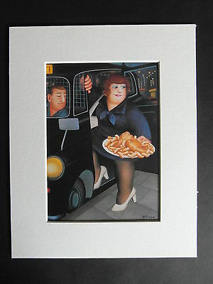 Beryl Cook  Dinner For One  Mounted Card 10 X 8 Funny • 5.50£