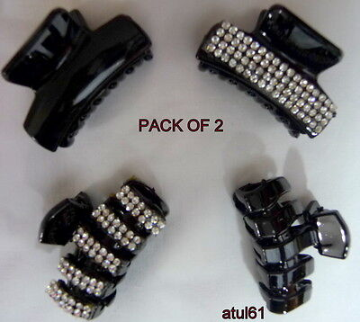 £3.45 • Buy Set Of 2 Black Hair Claw Clamps~hair Clips~butterfly~grips Accessories 4 Cm