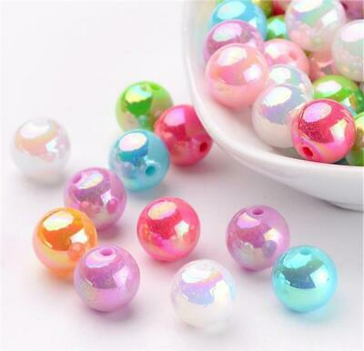 £2.19 • Buy TOP QUALITY 'AB ' PEARL LUSTRE ACRYLIC BEADS 8MM ROUND COLOUR CHOICE 100perbag