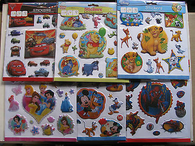 Disney Stickers Labels Pack Novelty Various Reuseable Large Small Kids Children  • 1.80£
