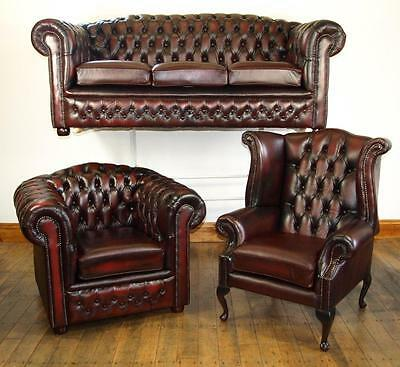 Chesterfield Leather Suite BRAND NEW OXBLOOD • 2,069£