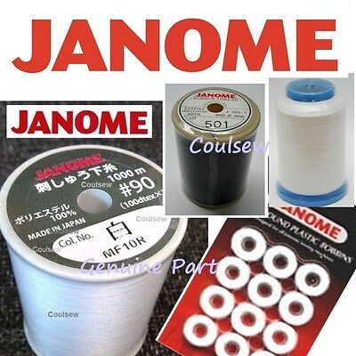 JANOME EMBROIDERY LOWER BOBBIN THREAD CHOOSE WHITE BLACK LARGE SMALL 800m 1600m • 11.99£