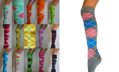 Argyle Check Diamond Stretch Long Knee High Socks Pub Golf Fancy Dress New   • 3.25£