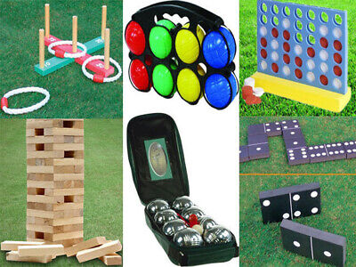 New Garden Lawn Bbq Party Games Giant Jenga Tower / Connect 4 In A Row / Quoits • 9.95£