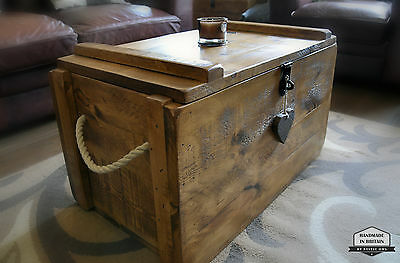 £189 • Buy Rustic Wooden Chest Trunk Blanket Box Shabby Vintage Coffee Table Ottoman