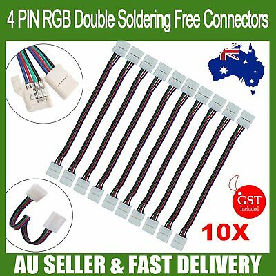 AU6.98 • Buy 10X LED Strip Lights Double Connector Soldering Free 3528 5050 RGB 4 Wire 10mm