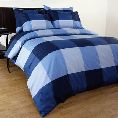 AU23.40 • Buy Single/Double/Queen/King/Super King Size Bed Quilt/Duvet Cover Set-Blue Check
