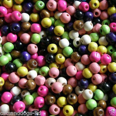 100 X10mm Wooden Round Beads Colour Choice Craft Kids Jewellery Making • 1.95£
