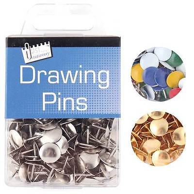Multicoloured Solid Head Brass Gold Silver Drawing Pins • 2.49£