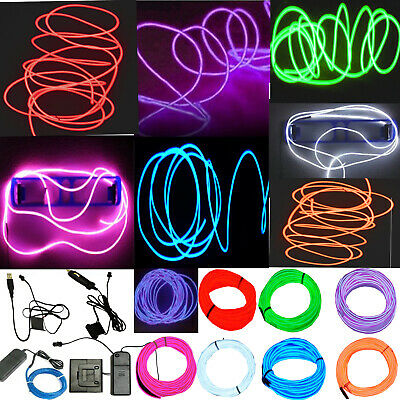 $5.88 • Buy Neon LED Light Glow EL Wire String Strip Rope Tube Decor Car Party + Controller