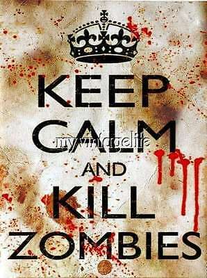 £11.04 • Buy Keep Calm And Kill Zombies Quilting Fabric Block