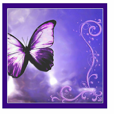 Purple Butterfly Coasters - Set Of 6 Fun Coasters - Gifts / Present - Brand New • 9.99£