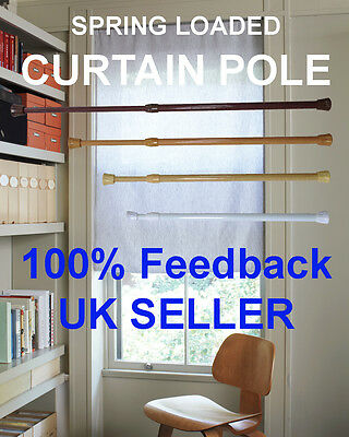 (1 Pair) Spring Loaded Extendable Curtain Rail Tension Pole Rod Cupboard Keeper • 11.95£