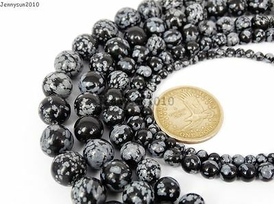 $ CDN2.35 • Buy Natural Snow Flake Obsidian Gemstone Round Beads 15.5'' 4mm 6mm 8mm 10mm 12mm