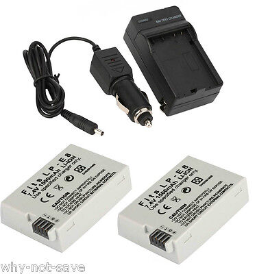 2 Battery With Charger For LP-E8 Canon Rebel T2i T3i T4i EOS 550D 600D 650D 700D • 23.90£