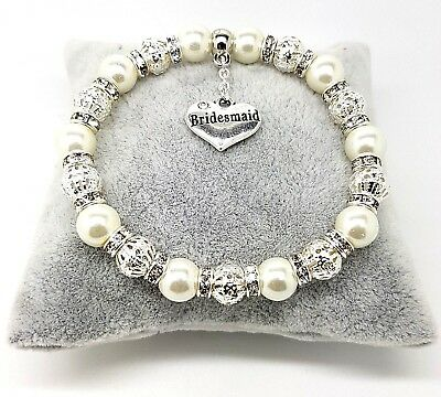 $5.43 • Buy Personalised Wedding Favour Bracelet Bride Lots Of Charms Free Gift Bag