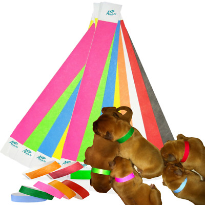 14 Different Colours TYVEK Puppy Kitten Newborn Welping ID Bands Whelping Collar • 3.50£