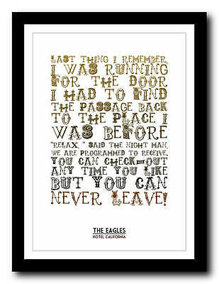 £14.95 • Buy EAGLES - Hotel California - Song Lyric Poster Art Typography Print - 4 Sizes