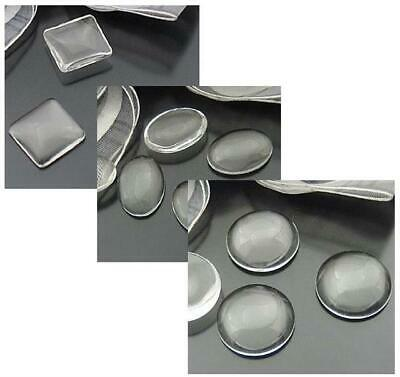 Clear Glass Domed Cabochons Round Oval Square  Size Choice Top Quality • 3.19£