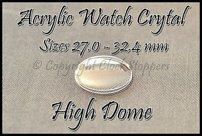 £3.95 • Buy Round Watch Glass 270-324 Mm Crystal Acrylic Plastic Wristwatch Replacement Dome