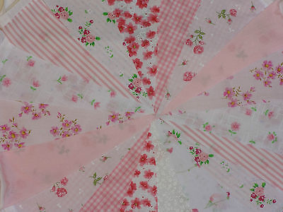 Handmade Fabric Bunting Pastel Design Weddings 40ft - 20ft Floral Vintage Shabby • 5.50£
