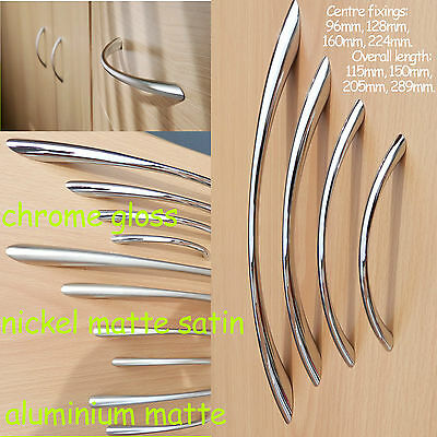 Kitchen Door Cupboard Cabinet Drawer Handles Bow Chrome/Nickel/matte/satin • 0.99£