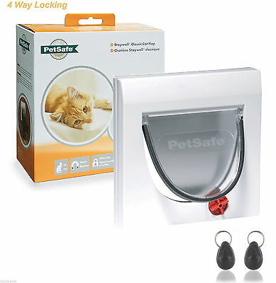 PetSafe Staywell 32 White Magnetic Cat Flap Door 932 & Inc Two Key 4 Way Locking • 23.95£