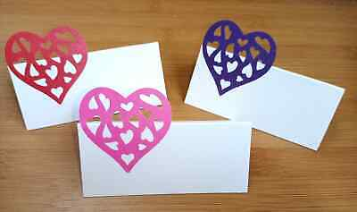 10 Pearlescent Shimmer Large Lace Heart Place Cards Party Wedding Birthday • 1.65£