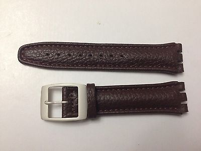 £6.99 • Buy Replacement 19mm Leather Watch Strap In Brown For Swatch Metal Buckle