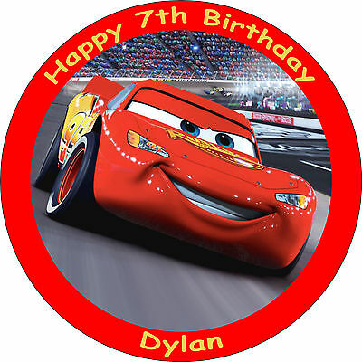 Cars Lightning Mcqueen Edible 8  Personalised Birthday Cake Topper • 4.75£