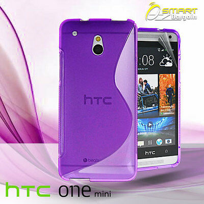 AU4.99 • Buy Purple S Curve Gel Case For HTC ONE Mini M4 + Screen Guard TPU Jelly Soft Cover