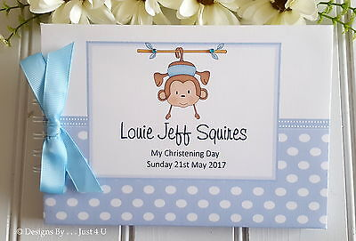 £13.99 • Buy Personalised Boys - Monkey -  Christening - Naming Day- Guest Book