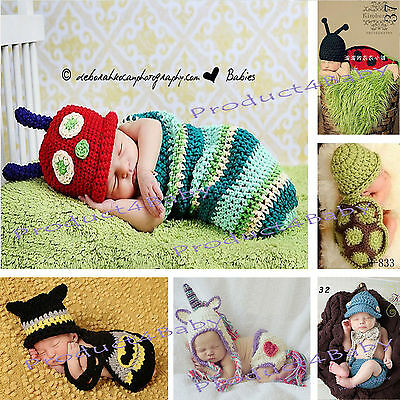 AU19.95 • Buy New Baby Boy Girl Crochet Beanie Costume Outfit Set Hat Photography Props 0-3-6M