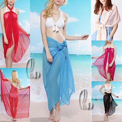AU8.99 • Buy Sexy Chiffion Beach Sarong Bikini Cover Oversize Cocktail Scarf/shawl Sw007