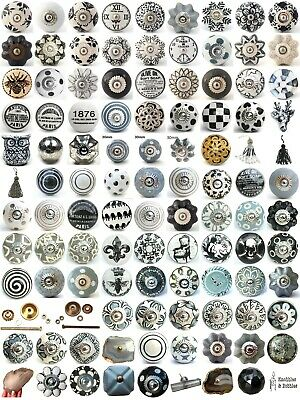Black White Grey Vintage Ceramic Knobs Drawer Pull Cupboard Door Knobs China • 1.79£