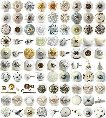 White Cream Ceramic Knobs Drawer Pulls Cupboard Door Knobs Porcelain China • 1.79£