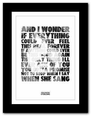 ❤ FOO FIGHTERS Everlong  ❤ Lyric Typography Poster Art Print A1 A2 A3 Or A4 #2 • 9.95£