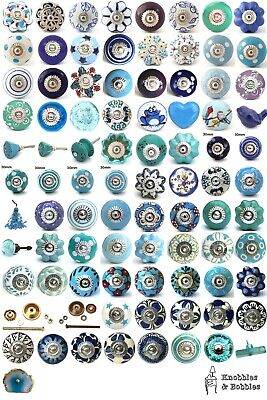 Blue Purple Turquoise Ceramic Knobs Drawer Pulls Cupboard Door Knobs • 1.79£