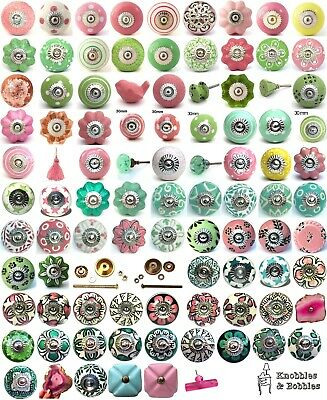 Pink Green Ceramic Knobs Drawer Pulls Cupboard Door Knobs Porcelain China K&B • 1.89£
