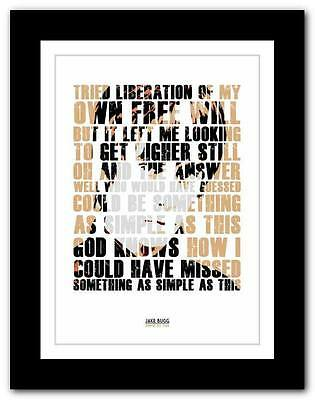 £9.95 • Buy ❤  JAKE BUGG Simple As This  ❤  Typography Art Poster Print - A1 A2 A3 Or A4