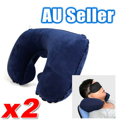 AU7.95 • Buy 2x Portable Inflatable U Shaped Travel Neck Pillow Car Flight Head Rest Cushion